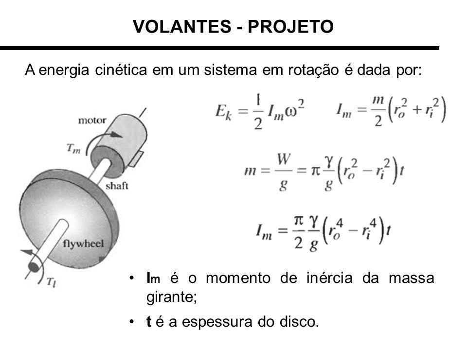 VOLANTES - PROJETO A energia cinética em um sistema em rotação é dada por: I m é o momento de inércia da massa girante; t é a espessura do disco.