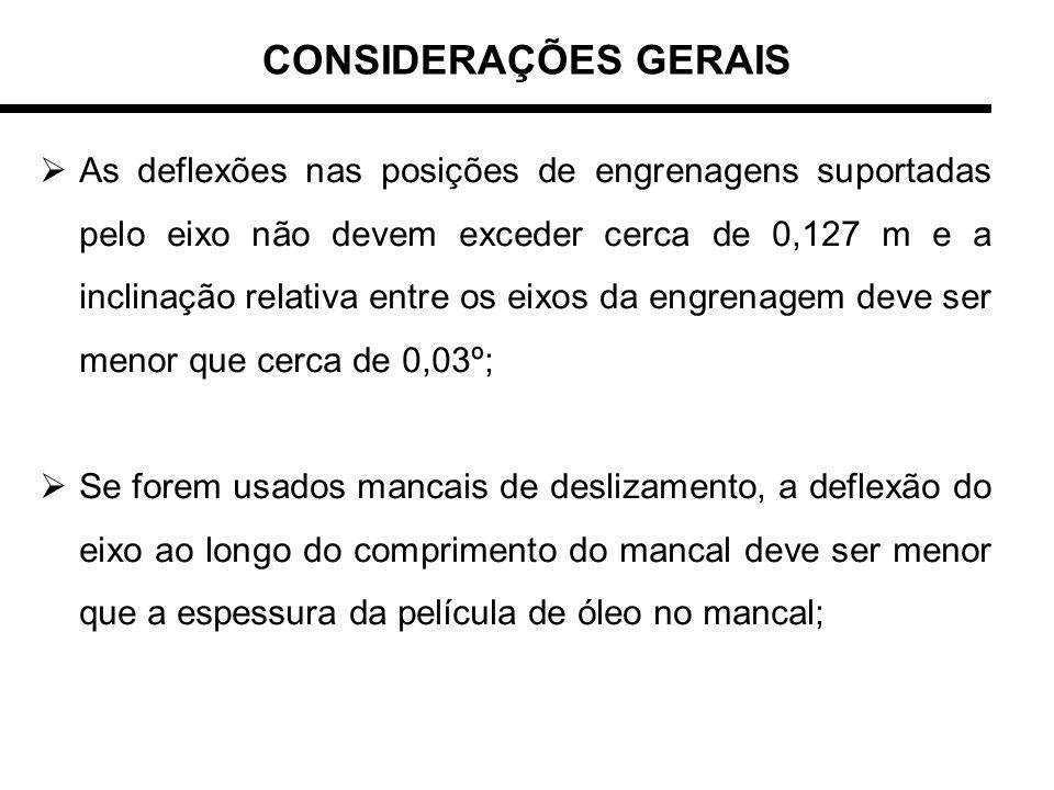 CONSIDERAÇÕES GERAIS As deflexões nas posições de engrenagens suportadas pelo eixo não devem exceder cerca de 0,127 m e a inclinação relativa entre os