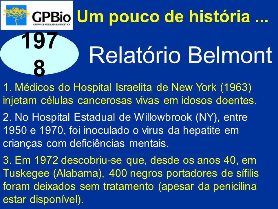 Um pouco de história... 1. Médicos do Hospital Israelita de New York (1963) injetam células cancerosas vivas em idosos doentes. 2. No Hospital Estadua