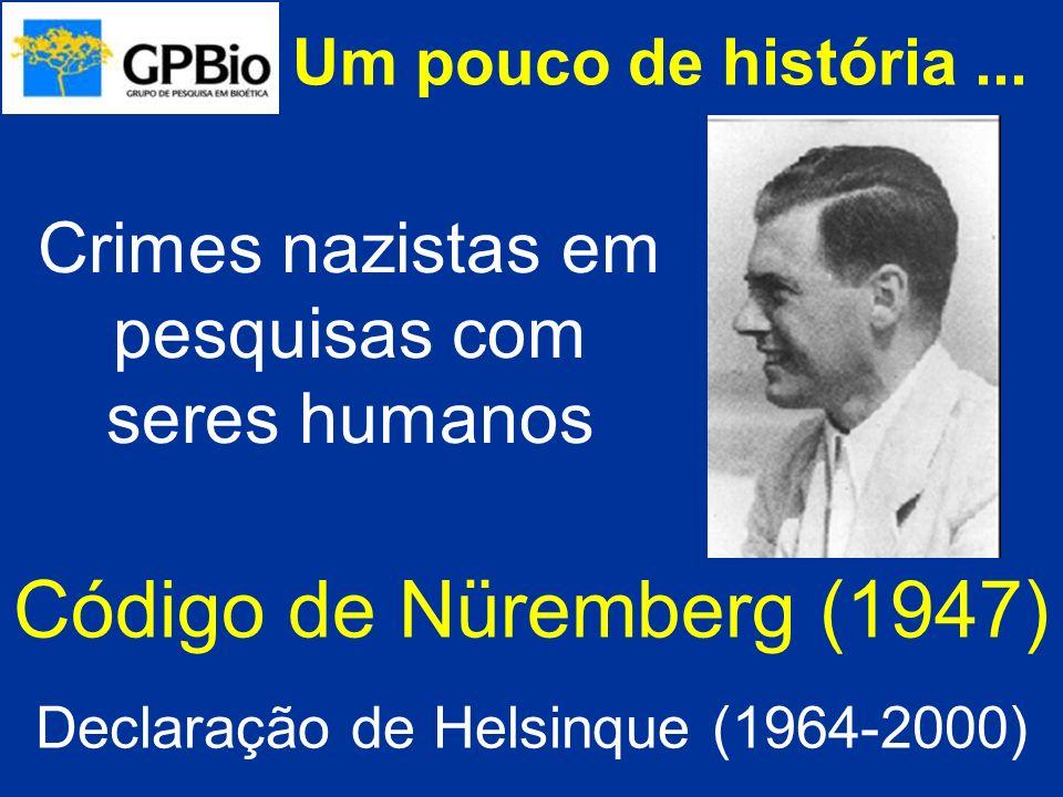 Um pouco de história... Código de Nüremberg (1947) Declaração de Helsinque (1964-2000) Crimes nazistas em pesquisas com seres humanos
