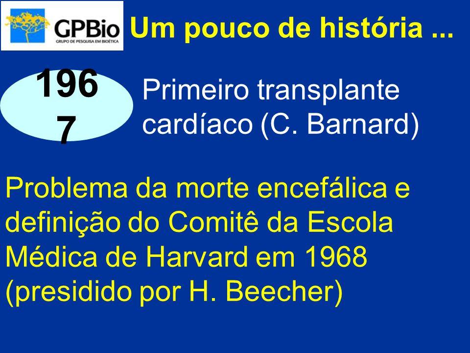 Um pouco de história... Problema da morte encefálica e definição do Comitê da Escola Médica de Harvard em 1968 (presidido por H. Beecher) 196 7 Primei
