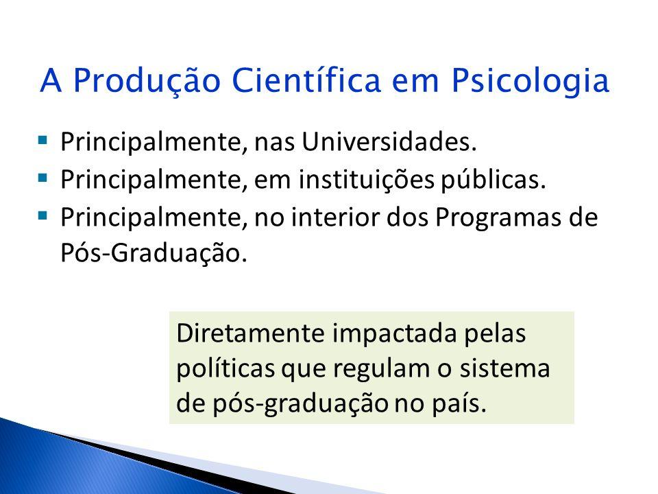 A Produção Científica em Psicologia Principalmente, nas Universidades. Principalmente, em instituições públicas. Principalmente, no interior dos Progr
