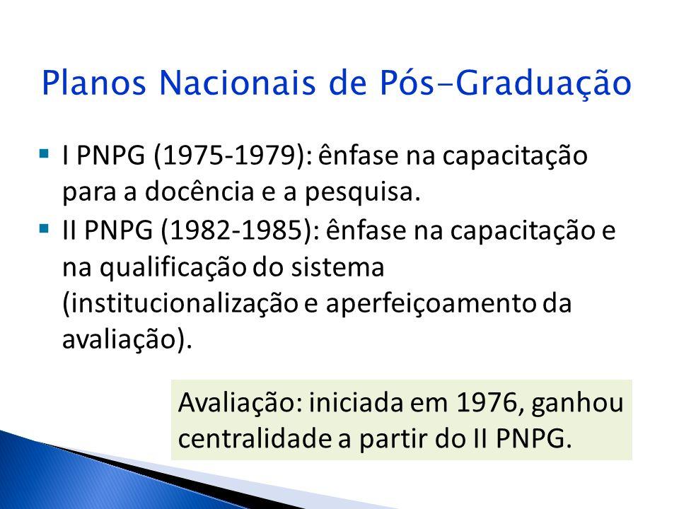Planos Nacionais de Pós-Graduação I PNPG (1975-1979): ênfase na capacitação para a docência e a pesquisa. II PNPG (1982-1985): ênfase na capacitação e