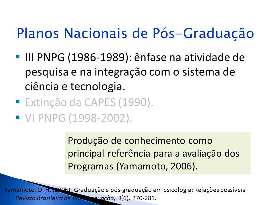 Planos Nacionais de Pós-Graduação III PNPG (1986-1989): ênfase na atividade de pesquisa e na integração com o sistema de ciência e tecnologia. Extinçã