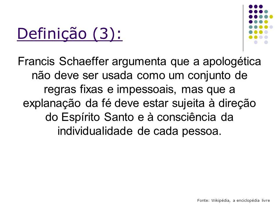 Estilos de Apologética Cristã: Fonte: Wikipédia, a enciclopédia livre Apologética EvidencialistaPressuposicionalFilosóficaProféticaDoutrinalBíblicaMoralCientífica