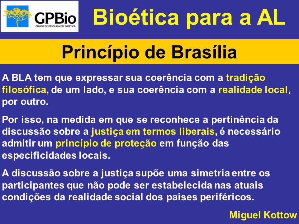 Bioética para a AL Princípio de Brasília A BLA tem que expressar sua coerência com a tradição filosófica, de um lado, e sua coerência com a realidade