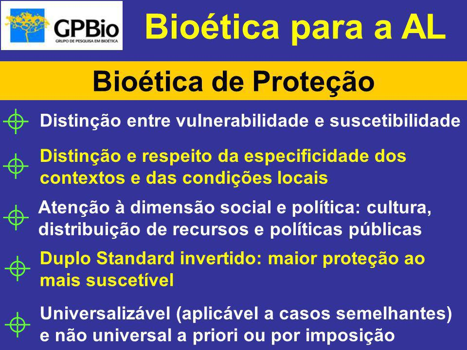 Bioética para a AL Bioética de Proteção Distinção entre vulnerabilidade e suscetibilidade Distinção e respeito da especificidade dos contextos e das c