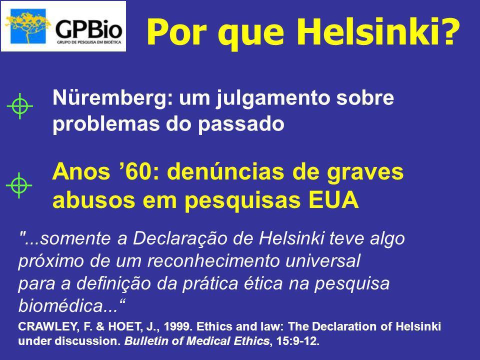 Anos 60: denúncias de graves abusos em pesquisas EUA Nüremberg: um julgamento sobre problemas do passado