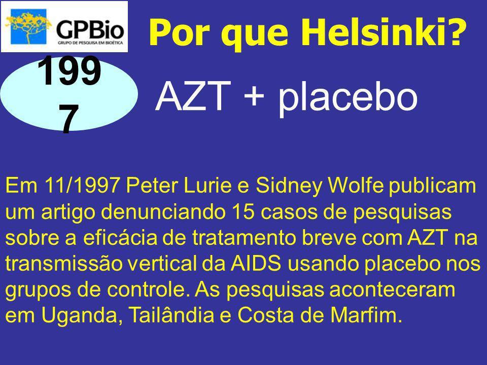 Em 11/1997 Peter Lurie e Sidney Wolfe publicam um artigo denunciando 15 casos de pesquisas sobre a eficácia de tratamento breve com AZT na transmissão