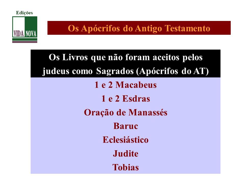 Os Livros que não foram aceitos pelos judeus como Sagrados (Apócrifos do AT) 1 e 2 Macabeus 1 e 2 Esdras Oração de Manassés Baruc Eclesiástico Judite