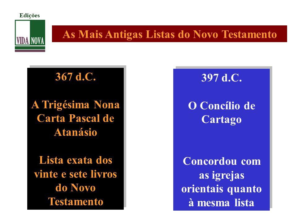 367 d.C. A Trigésima Nona Carta Pascal de Atanásio Lista exata dos vinte e sete livros do Novo Testamento 367 d.C. A Trigésima Nona Carta Pascal de At