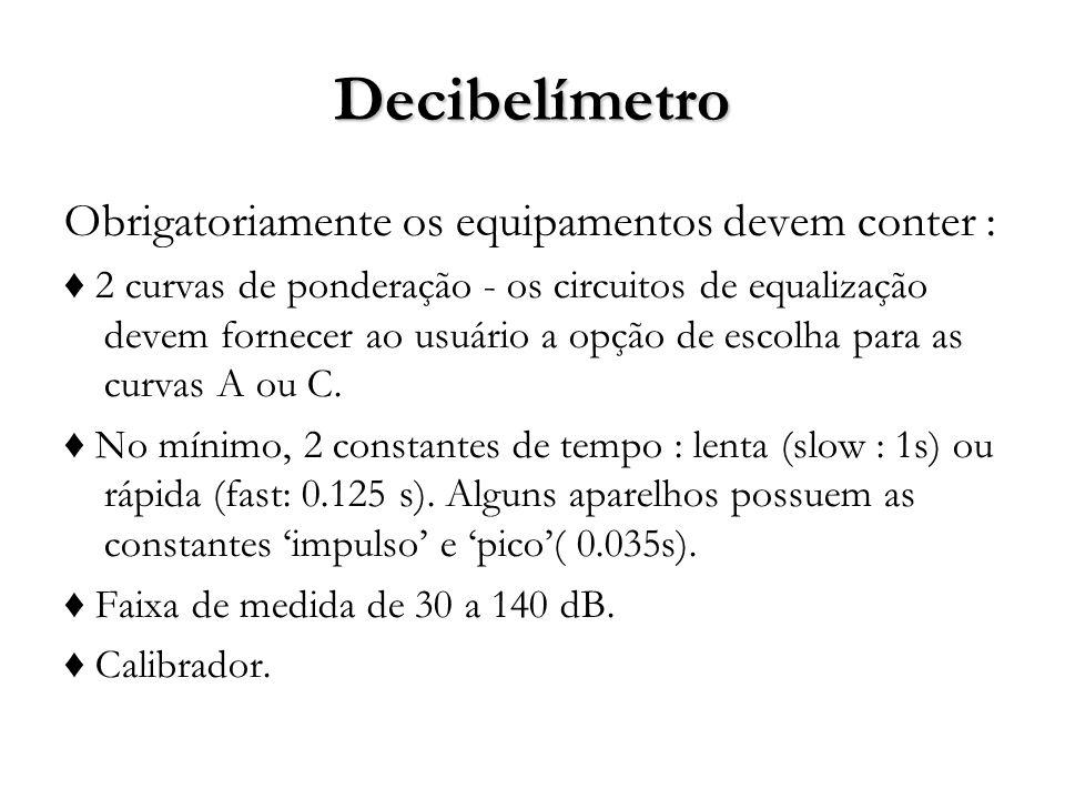 Decibelímetro Obrigatoriamente os equipamentos devem conter : 2 curvas de ponderação - os circuitos de equalização devem fornecer ao usuário a opção de escolha para as curvas A ou C.