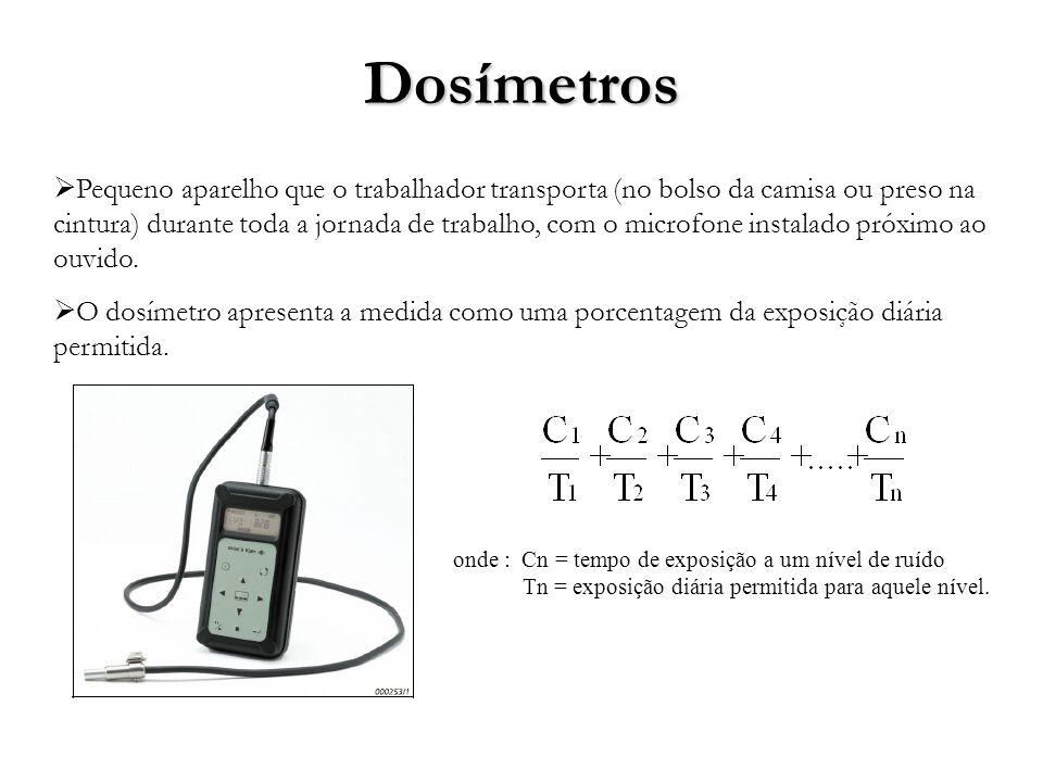 Dosímetros Pequeno aparelho que o trabalhador transporta (no bolso da camisa ou preso na cintura) durante toda a jornada de trabalho, com o microfone instalado próximo ao ouvido.
