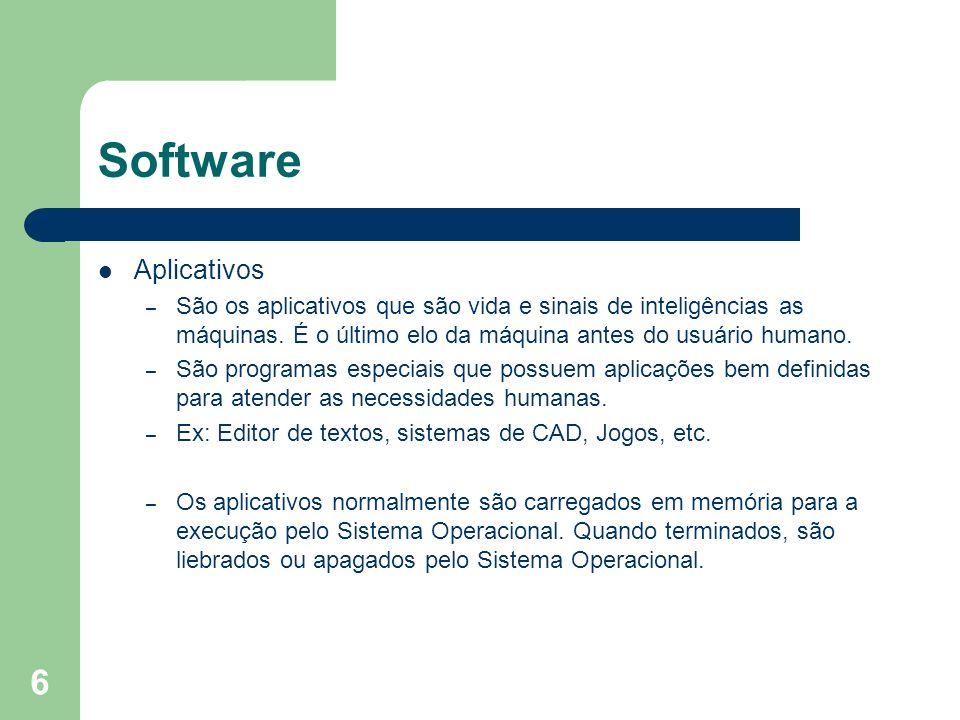 7 Software São exemplos de programas aplicativos: – Utilitários – Programas de comunicação – Editores de textos – Editores gráficos – Planilhas eletrônicas – Bancos de Dados – Linguagem de programação – CADs – CAM