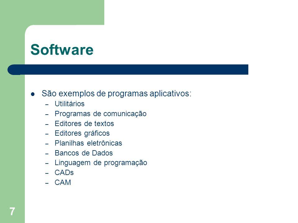 7 Software São exemplos de programas aplicativos: – Utilitários – Programas de comunicação – Editores de textos – Editores gráficos – Planilhas eletrô