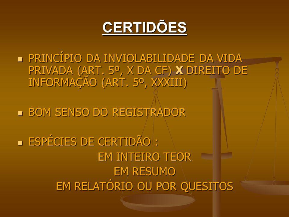 CERTIDÕES PRINCÍPIO DA INVIOLABILIDADE DA VIDA PRIVADA (ART. 5º, X DA CF) X DIREITO DE INFORMAÇÃO (ART. 5º, XXXIII) PRINCÍPIO DA INVIOLABILIDADE DA VI