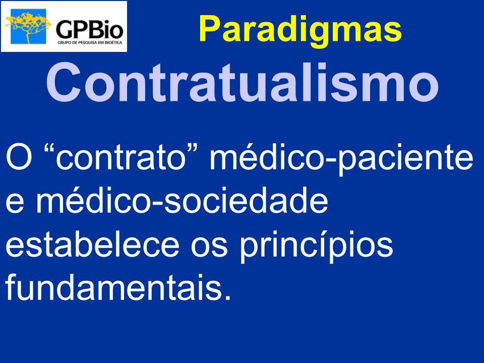 Paradigmas O contrato médico-paciente e médico-sociedade estabelece os princípios fundamentais. Contratualismo