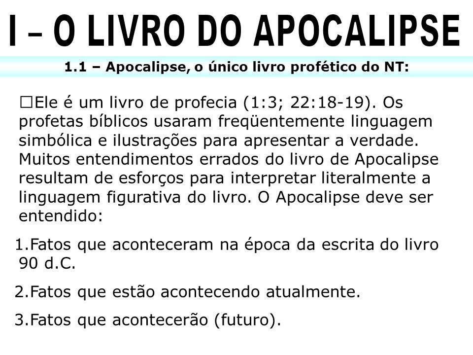 1.1 – Apocalipse, o único livro profético do NT: ŒEle é um livro de profecia (1:3; 22:18-19). Os profetas bíblicos usaram freqüentemente linguagem sim