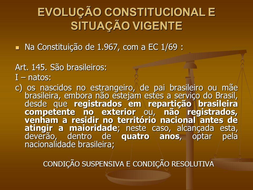 EVOLUÇÃO CONSTITUCIONAL E SITUAÇÃO VIGENTE Na Constituição de 1.967, com a EC 1/69 : Na Constituição de 1.967, com a EC 1/69 : Art. 145. São brasileir