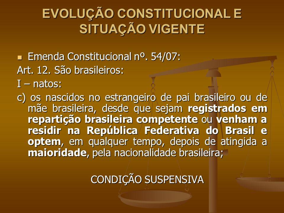 EVOLUÇÃO CONSTITUCIONAL E SITUAÇÃO VIGENTE Emenda Constitucional nº. 54/07: Emenda Constitucional nº. 54/07: Art. 12. São brasileiros: I – natos: c) o
