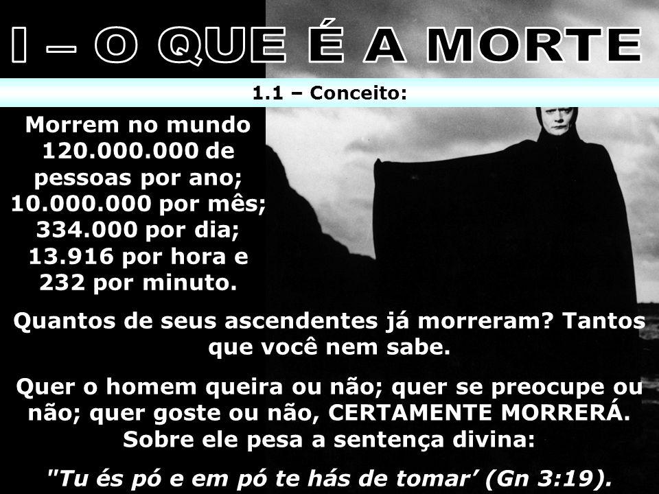 1.1 – Conceito: x Morrem no mundo 120.000.000 de pessoas por ano; 10.000.000 por mês; 334.000 por dia; 13.916 por hora e 232 por minuto. Quantos de se