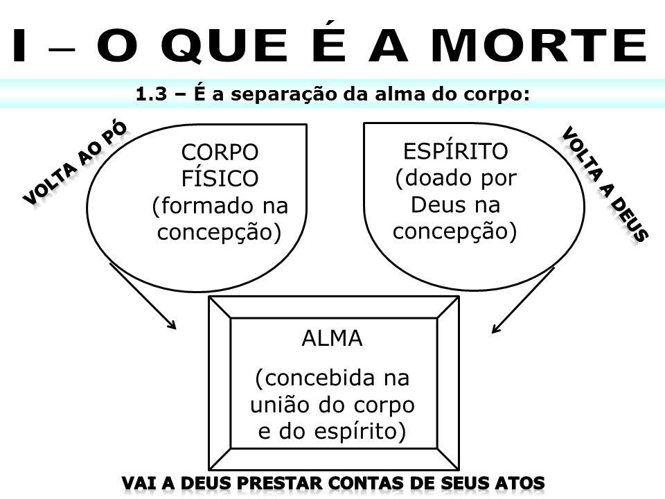 1.3 – É a separação da alma do corpo: CORPO FÍSICO (formado na concepção) ESPÍRITO (doado por Deus na concepção) ALMA (concebida na união do corpo e d