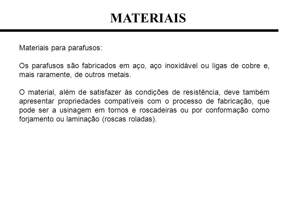 MATERIAIS Materiais para parafusos: Os parafusos são fabricados em aço, aço inoxidável ou ligas de cobre e, mais raramente, de outros metais. O materi