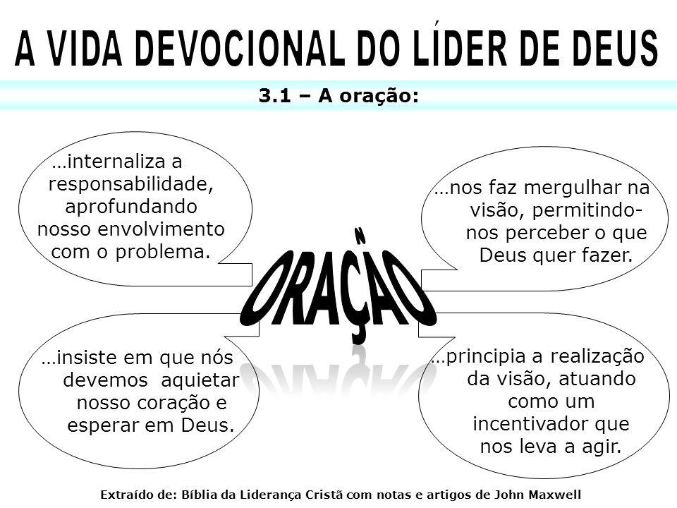 3.1 – A oração: …internaliza a responsabilidade, aprofundando nosso envolvimento com o problema. …nos faz mergulhar na visão, permitindo- nos perceber