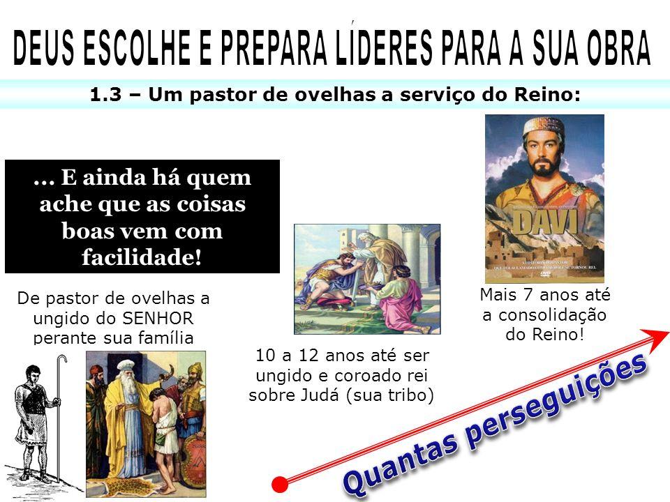 1.3 – Um pastor de ovelhas a serviço do Reino: De pastor de ovelhas a ungido do SENHOR perante sua família 10 a 12 anos até ser ungido e coroado rei s