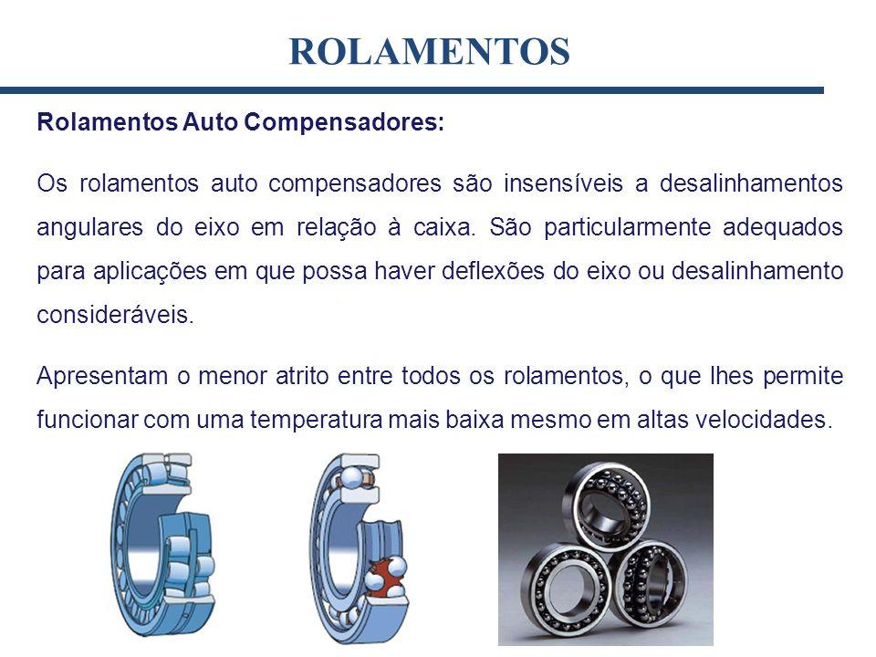 Rolamentos Auto Compensadores: Os rolamentos auto compensadores são insensíveis a desalinhamentos angulares do eixo em relação à caixa. São particular