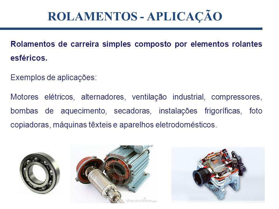 ROLAMENTOS - APLICAÇÃO Rolamentos de carreira simples composto por elementos rolantes esféricos. Exemplos de aplicações: Motores elétricos, alternador