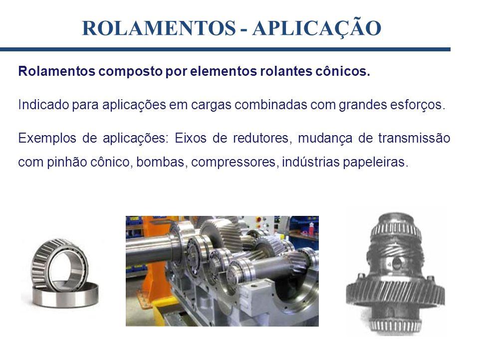 Rolamentos composto por elementos rolantes cônicos. Indicado para aplicações em cargas combinadas com grandes esforços. Exemplos de aplicações: Eixos