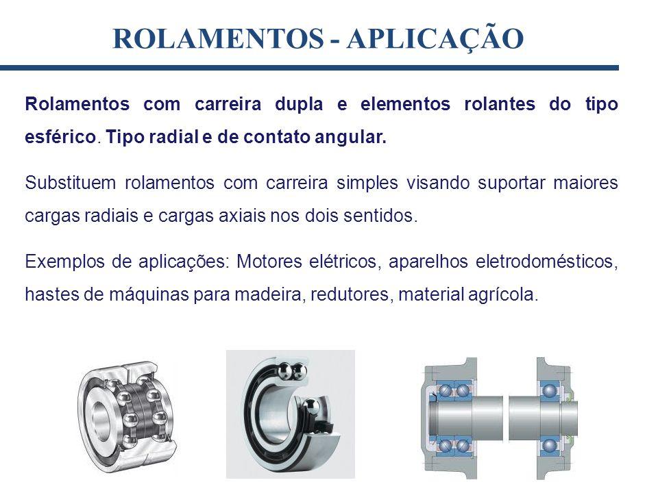 Rolamentos com carreira dupla e elementos rolantes do tipo esférico. Tipo radial e de contato angular. Substituem rolamentos com carreira simples visa