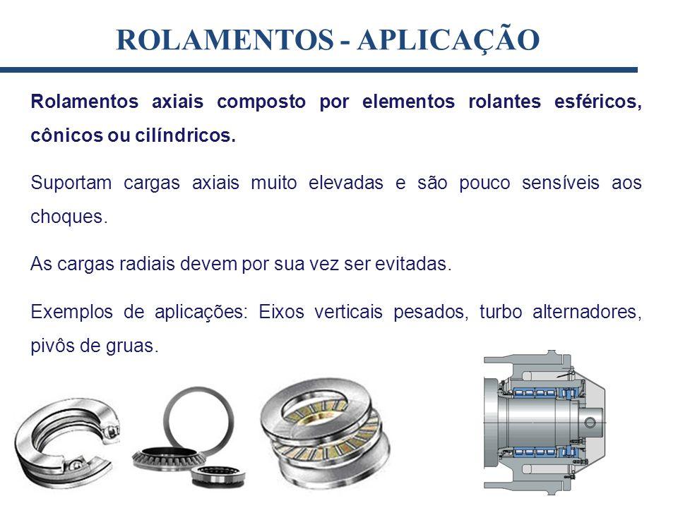 Rolamentos axiais composto por elementos rolantes esféricos, cônicos ou cilíndricos. Suportam cargas axiais muito elevadas e são pouco sensíveis aos c