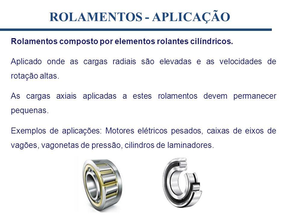Rolamentos composto por elementos rolantes cilíndricos. Aplicado onde as cargas radiais são elevadas e as velocidades de rotação altas. As cargas axia