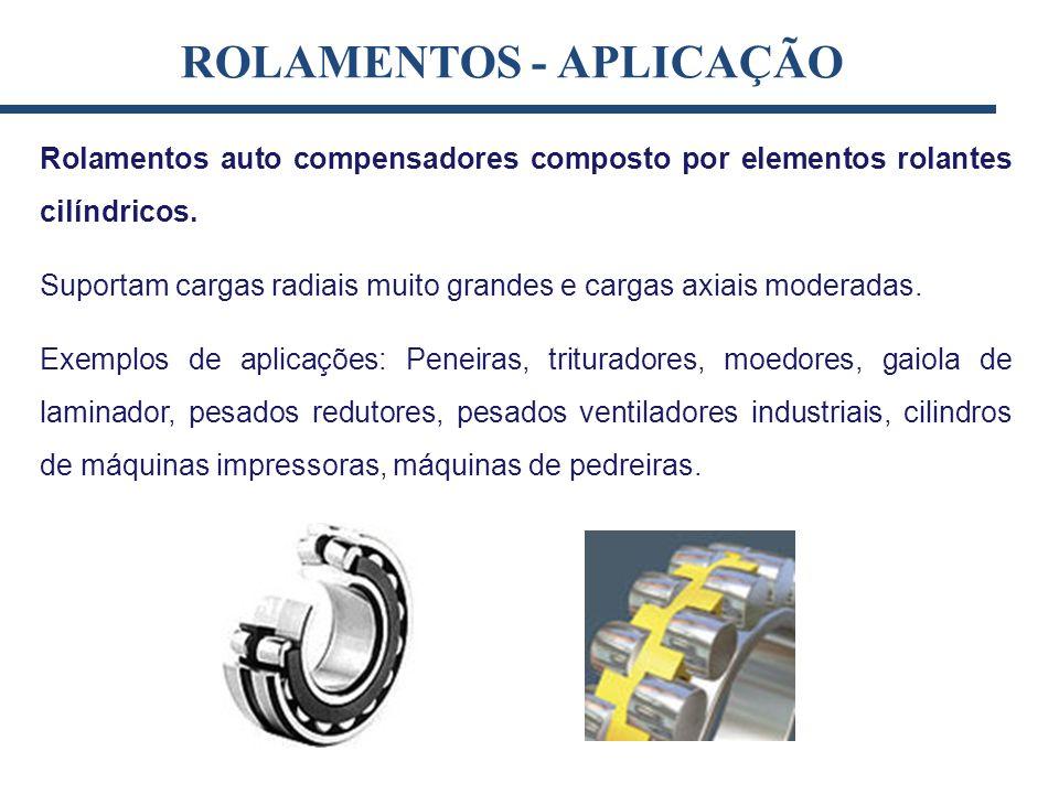 Rolamentos auto compensadores composto por elementos rolantes cilíndricos. Suportam cargas radiais muito grandes e cargas axiais moderadas. Exemplos d