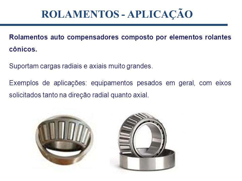 Rolamentos auto compensadores composto por elementos rolantes cônicos. Suportam cargas radiais e axiais muito grandes. Exemplos de aplicações: equipam