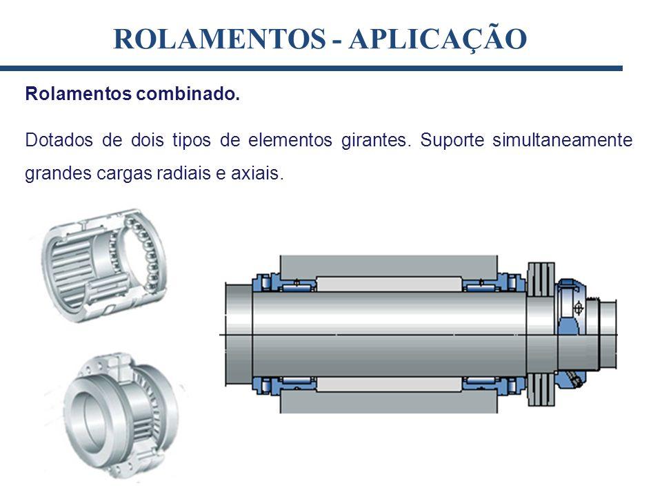 Rolamentos combinado. Dotados de dois tipos de elementos girantes. Suporte simultaneamente grandes cargas radiais e axiais. ROLAMENTOS - APLICAÇÃO