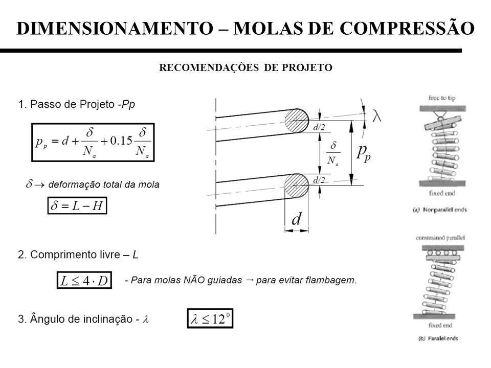 RECOMENDAÇÕES DE PROJETO DIMENSIONAMENTO – MOLAS DE COMPRESSÃO