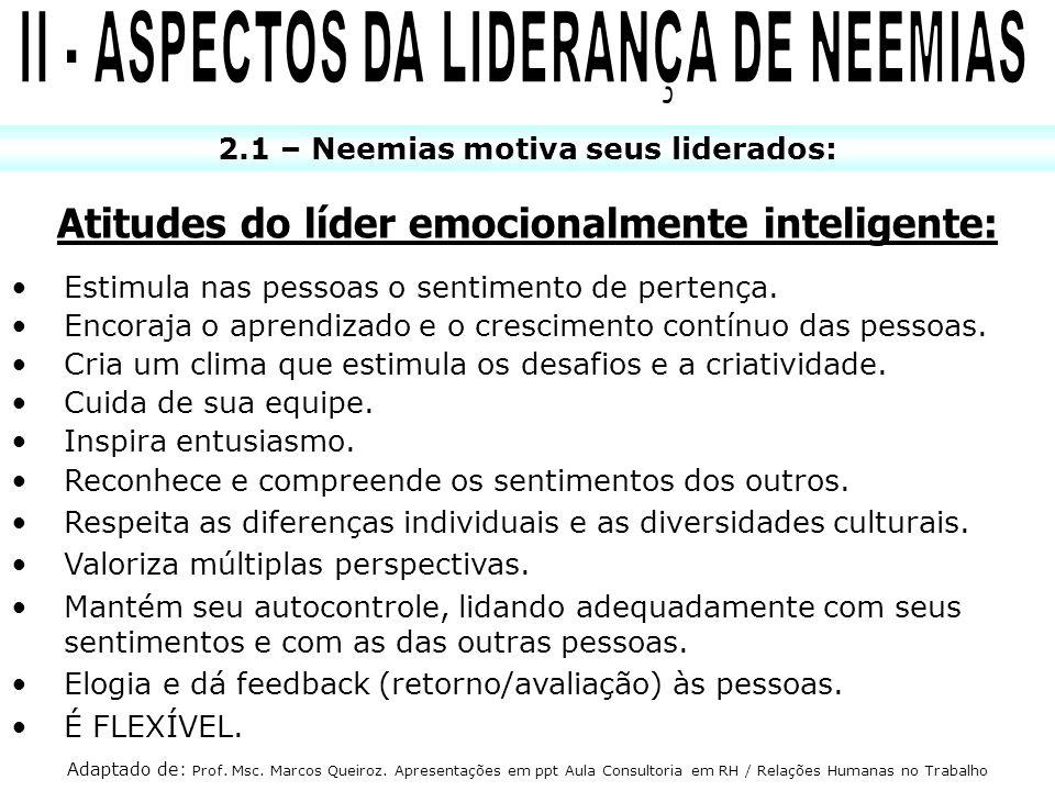 2.1 – Neemias motiva seus liderados: Atitudes do líder emocionalmente inteligente: Estimula nas pessoas o sentimento de pertença. Encoraja o aprendiza
