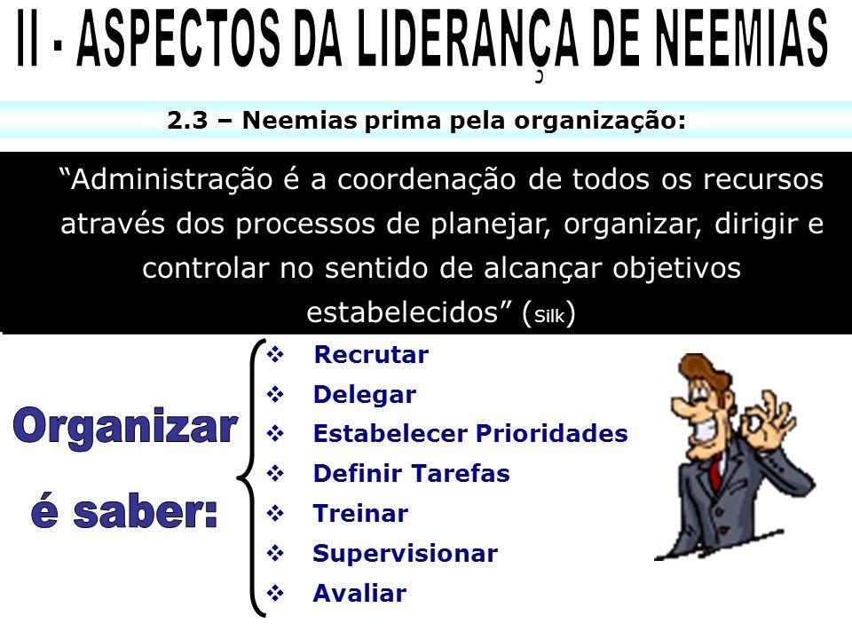 2.3 – Neemias prima pela organização: Administração é a coordenação de todos os recursos através dos processos de planejar, organizar, dirigir e contr