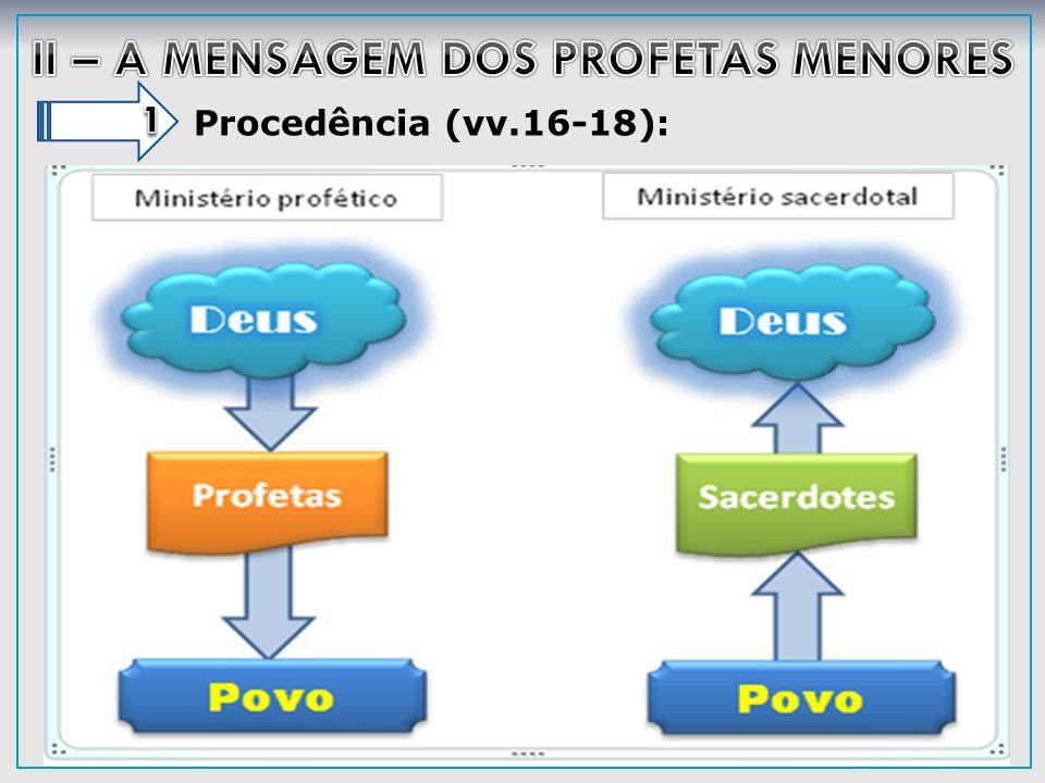 A palavra dos profetas (v.19a): Ao estudar os profetas percebe-se o mesmo tipo básico de construção em seus discursos: (1) previnem o povo quanto às conseqüências de sua pecaminosidade; (2) descrevem o pecado; (3) descrevem o juízo vindouro; (4) convidam ao arrependimento e (5) prometem em nome de Deus a libertação futura.