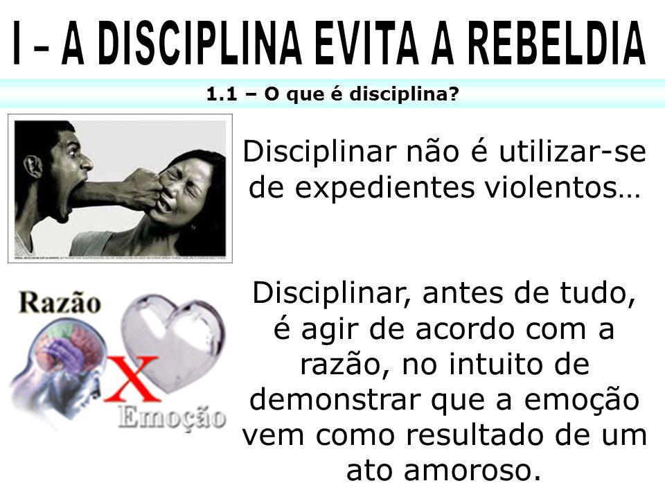1.1 – O que é disciplina? Disciplinar não é utilizar-se de expedientes violentos… Disciplinar, antes de tudo, é agir de acordo com a razão, no intuito