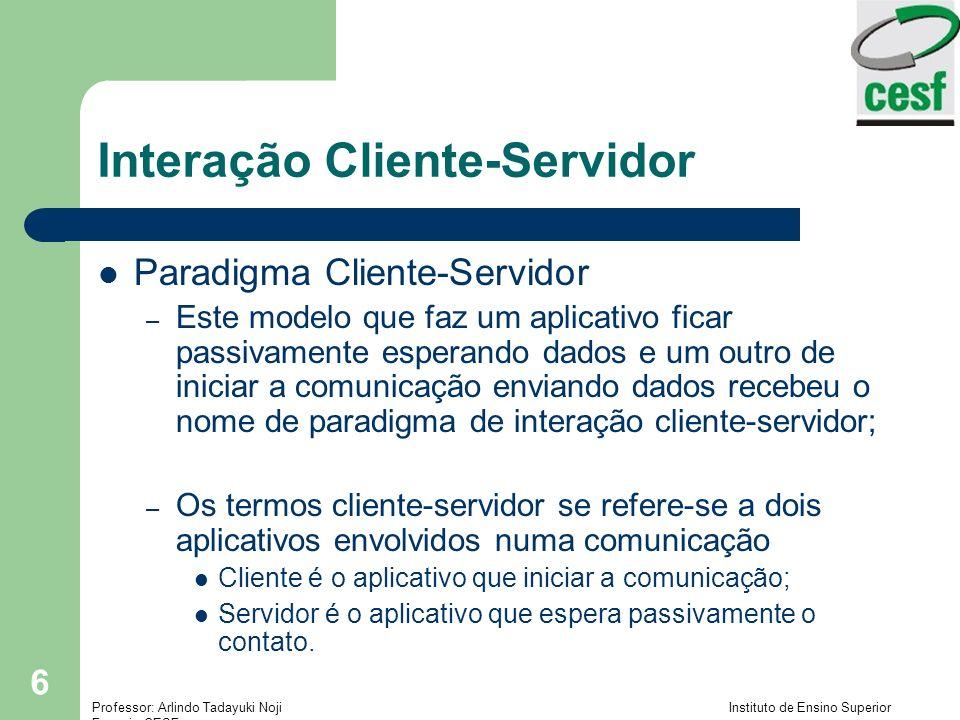 Professor: Arlindo Tadayuki Noji Instituto de Ensino Superior Fucapi - CESF 6 Interação Cliente-Servidor Paradigma Cliente-Servidor – Este modelo que