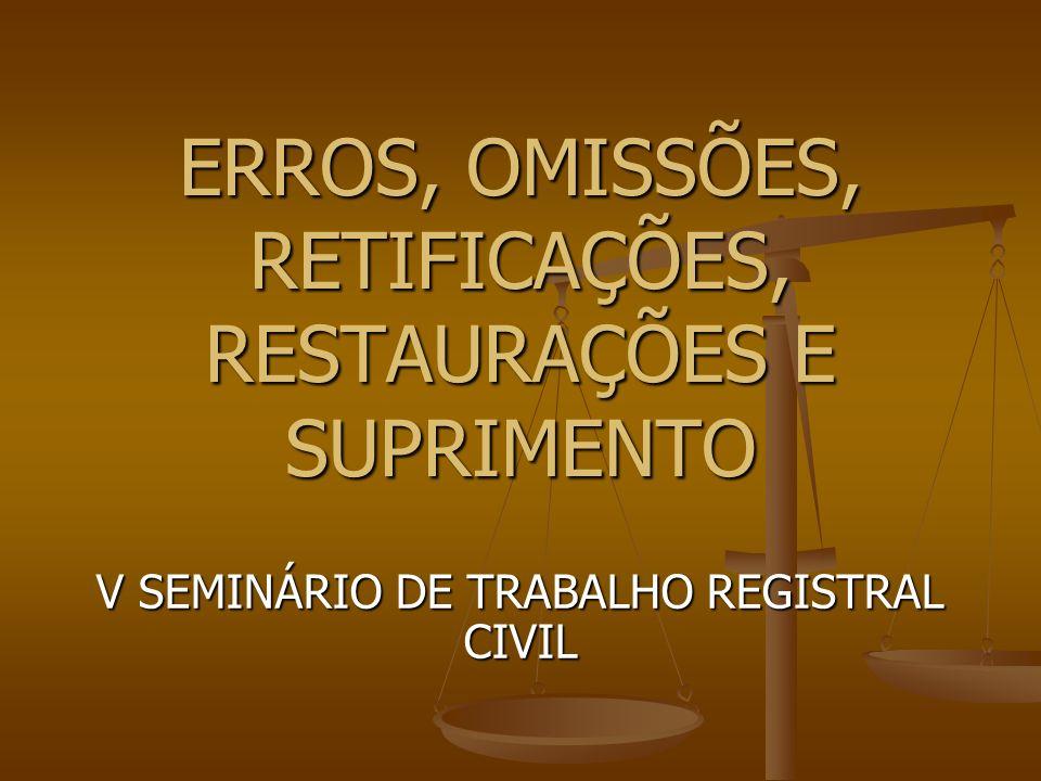 ERRO OU OMISSÃO (lei 6.015/73) Art.39.
