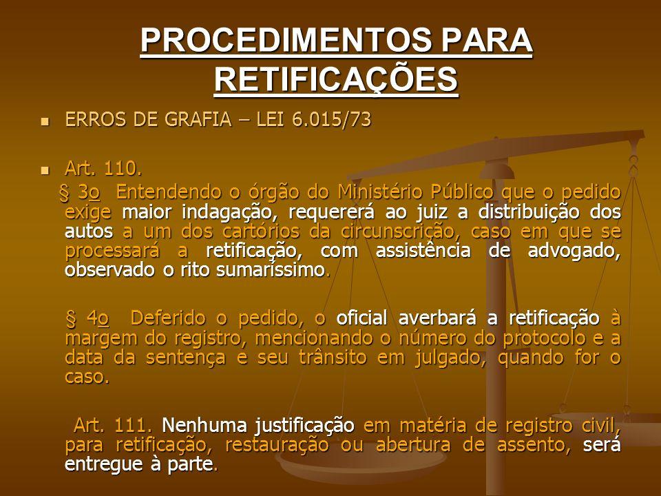 PROCEDIMENTOS PARA RETIFICAÇÕES ERROS DE GRAFIA – LEI 6.015/73 ERROS DE GRAFIA – LEI 6.015/73 Art. 110. Art. 110. § 3o Entendendo o órgão do Ministéri
