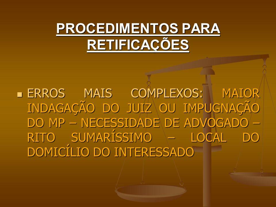 PROCEDIMENTOS PARA RETIFICAÇÕES ERROS MAIS COMPLEXOS – LEI 6.015/73 ERROS MAIS COMPLEXOS – LEI 6.015/73 Art.