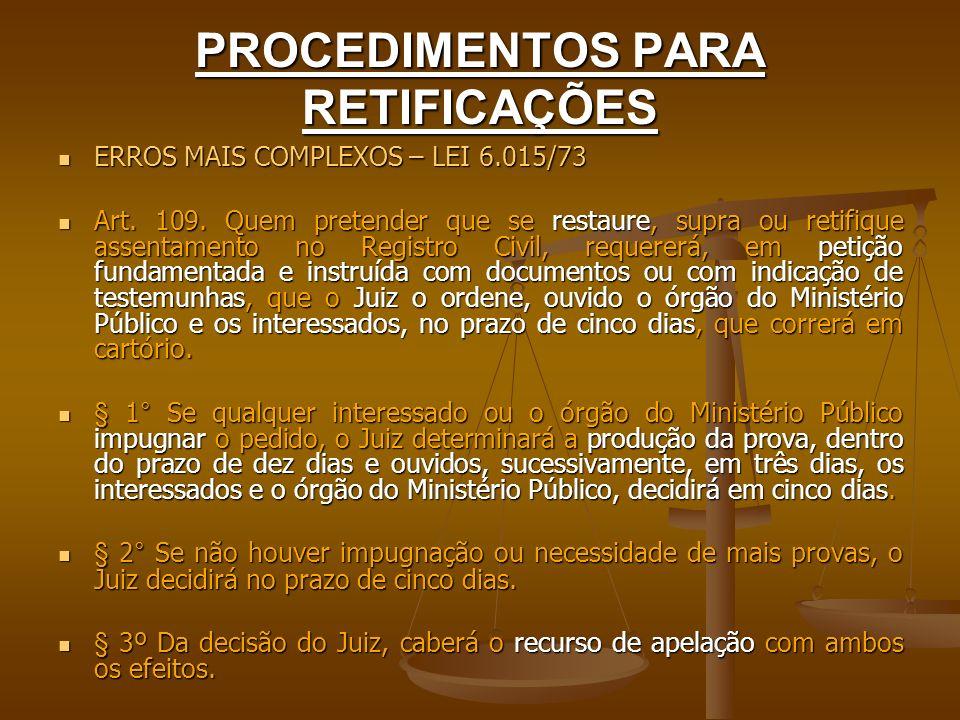 PROCEDIMENTOS PARA RETIFICAÇÕES ERROS MAIS COMPLEXOS – LEI 6.015/73 ERROS MAIS COMPLEXOS – LEI 6.015/73 Art. 109. Quem pretender que se restaure, supr