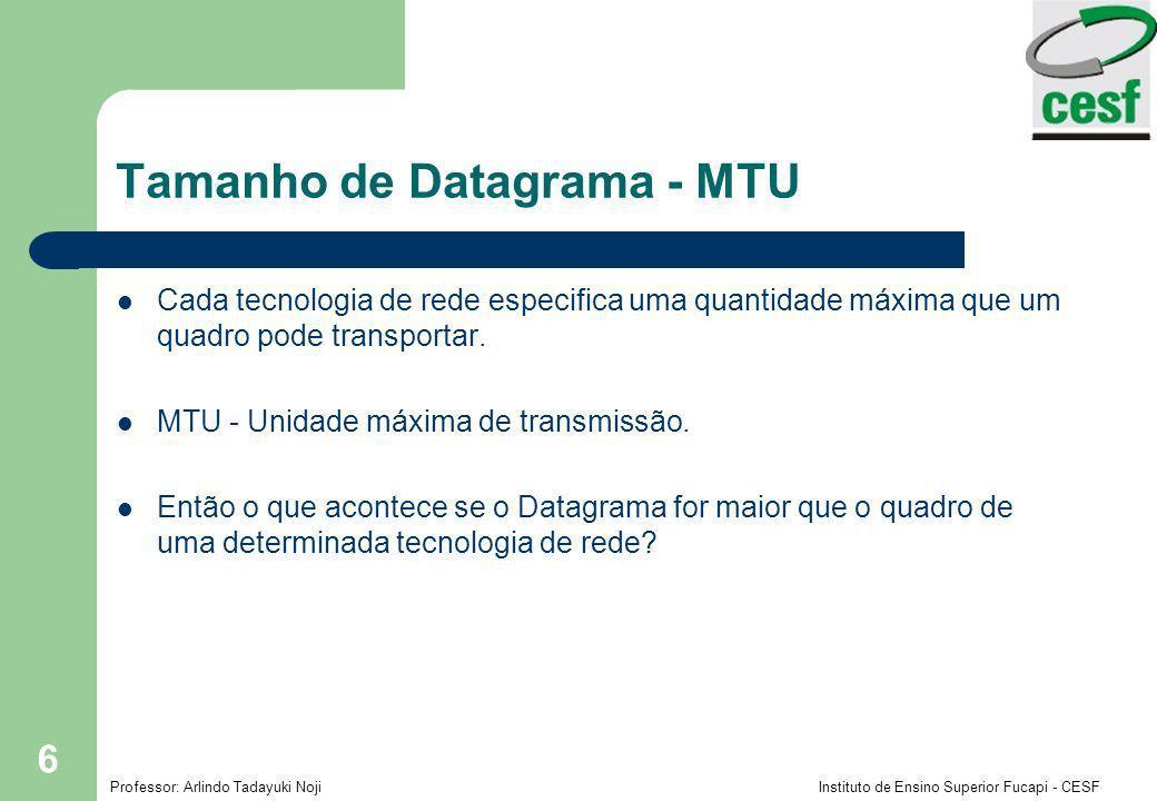 Professor: Arlindo Tadayuki Noji Instituto de Ensino Superior Fucapi - CESF 6 Tamanho de Datagrama - MTU Cada tecnologia de rede especifica uma quantidade máxima que um quadro pode transportar.