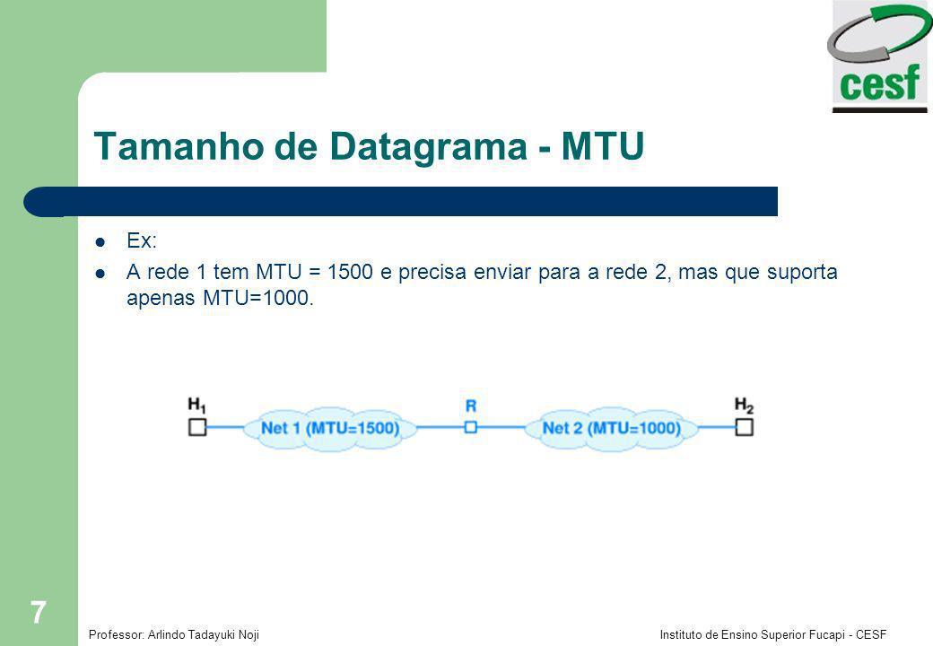 Professor: Arlindo Tadayuki Noji Instituto de Ensino Superior Fucapi - CESF 7 Tamanho de Datagrama - MTU Ex: A rede 1 tem MTU = 1500 e precisa enviar para a rede 2, mas que suporta apenas MTU=1000.